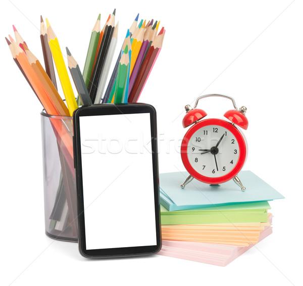 карандашей будильник смартфон карандашом Кубок изолированный Сток-фото © cherezoff