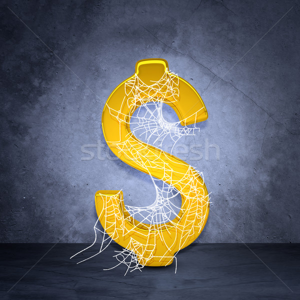 Golden dollar sign in spider web Stock photo © cherezoff