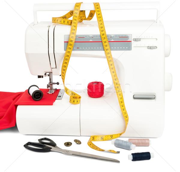 Sewing machine with fabric, threads and scissors Stock photo © cherezoff