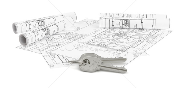 Architecture blueprints with two house keys Stock photo © cherezoff