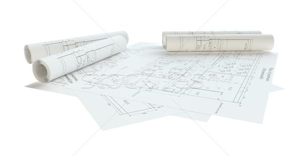 Rolled House Blueprints. Isolated Stock photo © cherezoff
