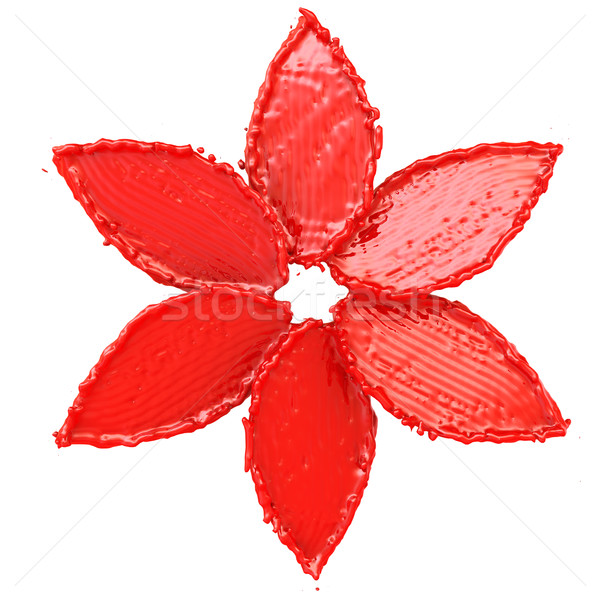 Top view of a red flower from the paint. Isolated on white background Stock photo © cherezoff