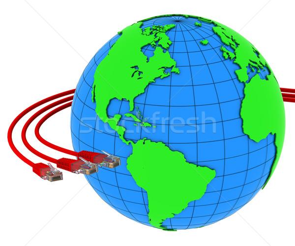 Tres rojo Internet cables alrededor Foto stock © cherezoff