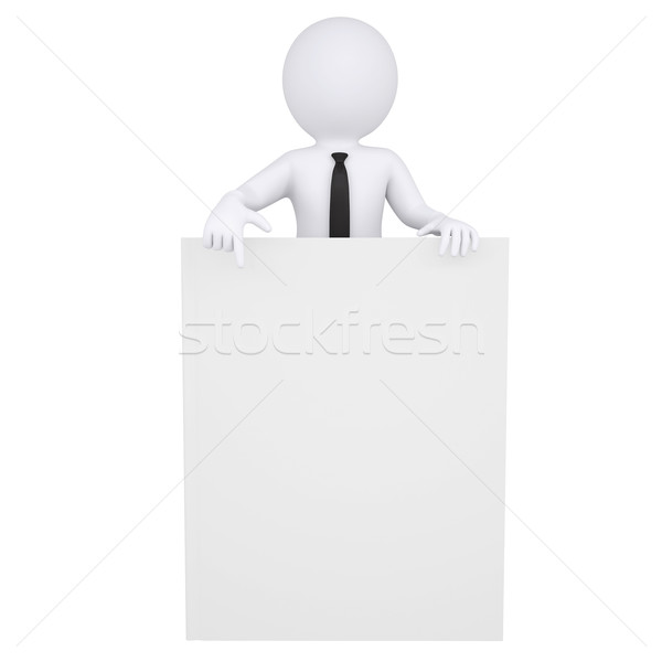 3d white man points a finger at the book Stock photo © cherezoff