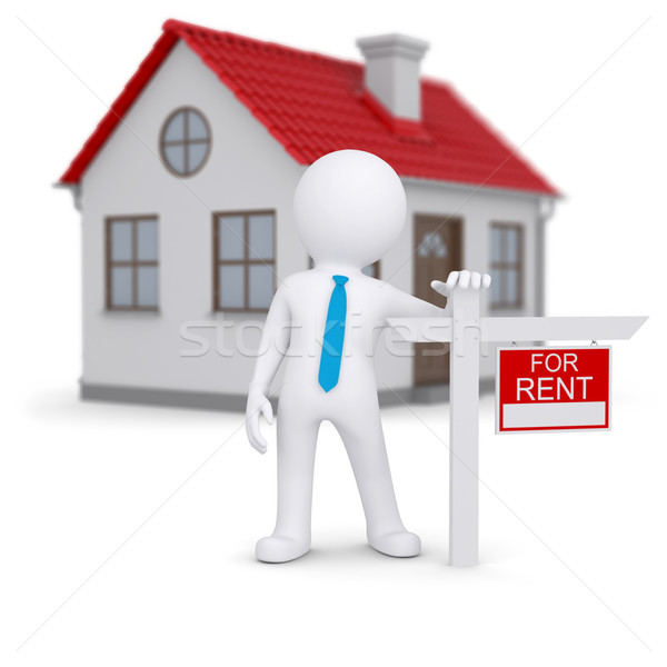 White 3d human and small house with sign a lease Stock photo © cherezoff