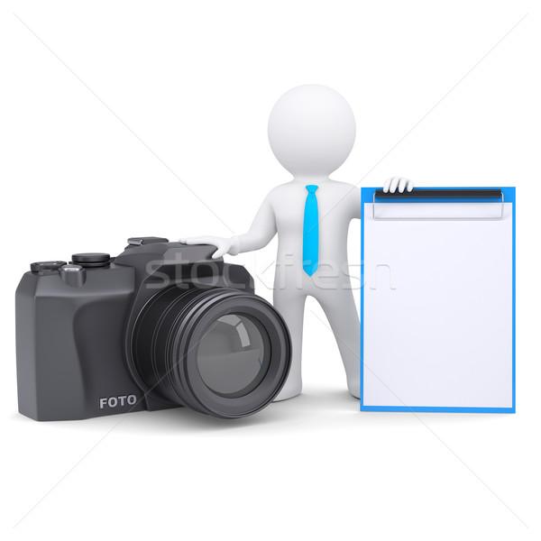 Zdjęcia stock: Mężczyzna · 3d · kamery · 3D · biały · człowiek · odizolowany · oddać