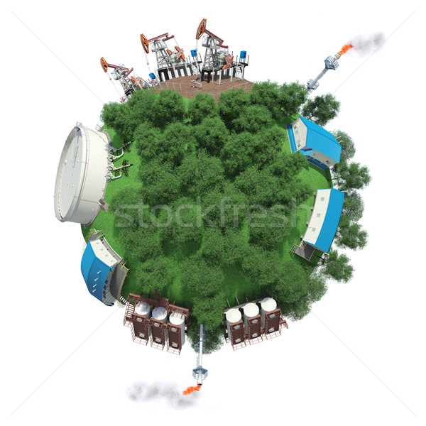 Objects of oil production and processing on a small planet Stock photo © cherezoff