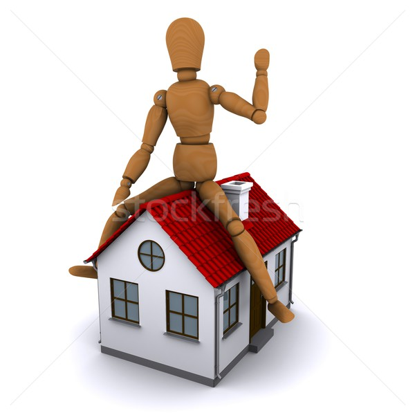 The wooden man sitting on the roof of the house with red roof. 3D rendering Stock photo © cherezoff