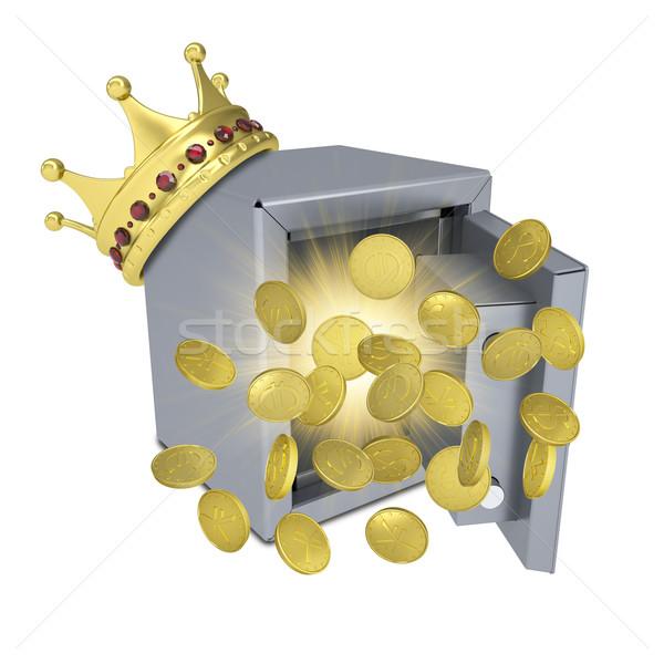 золото корона безопасной монетами изолированный белый Сток-фото © cherezoff