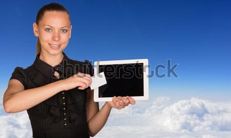Piękna kobieta interesu Błękitne niebo jet Zdjęcia stock © cherezoff