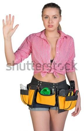 Mooie meisje shorts shirt tool gordel Stockfoto © cherezoff