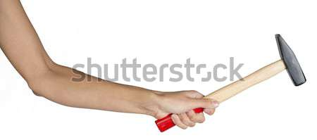 Stock photo: Female hand holding hammer