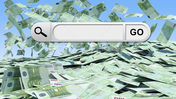 Blank search bar with Go button, money as backdrop Stock photo © cherezoff