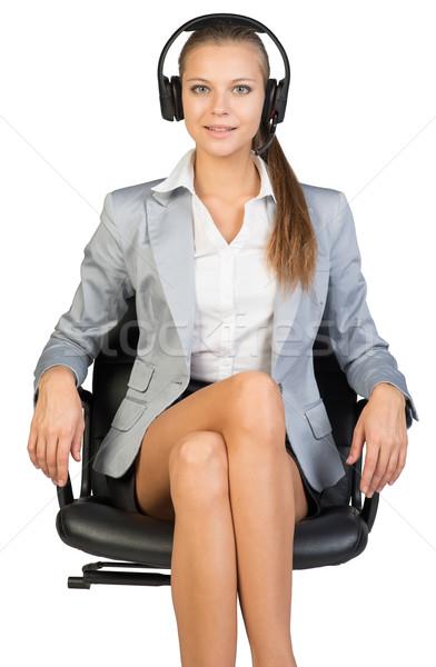女性実業家 ヘッド 座って 事務椅子 見える カメラ ストックフォト © cherezoff