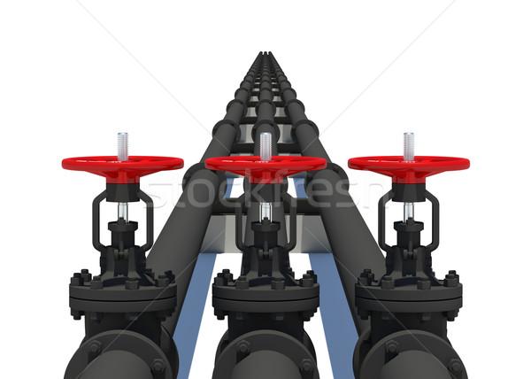 Trois noir tuyaux isolé blanche métal Photo stock © cherezoff