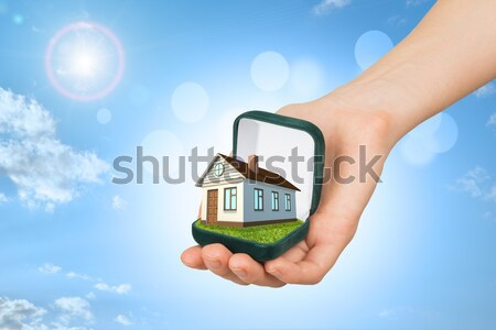 White shack in hand with red roof and chimney of screen laptop. Background sun shines brightly on le Stock photo © cherezoff