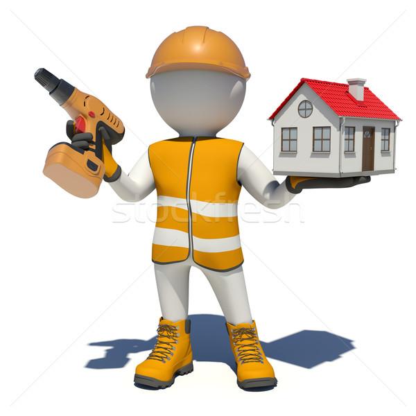 Travailleur tournevis faible maison isolé Photo stock © cherezoff