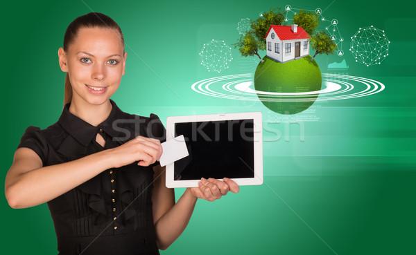 Boş kart tablet yeşil 3D toprak model Stok fotoğraf © cherezoff