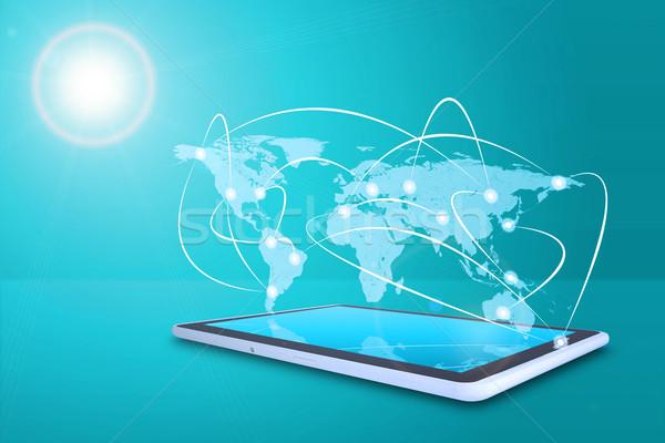 Stockfoto: Tablet · virtueel · wereldkaart · lijnen · Blauw · kaart