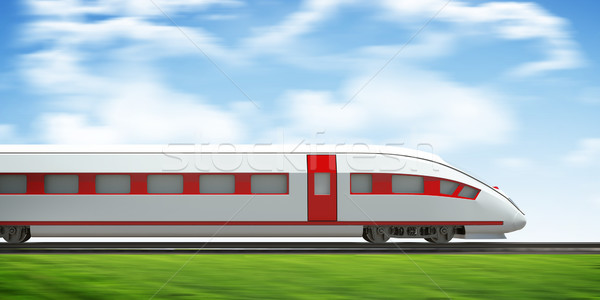 Train moving forward on rail-tracks, side view Stock photo © cherezoff