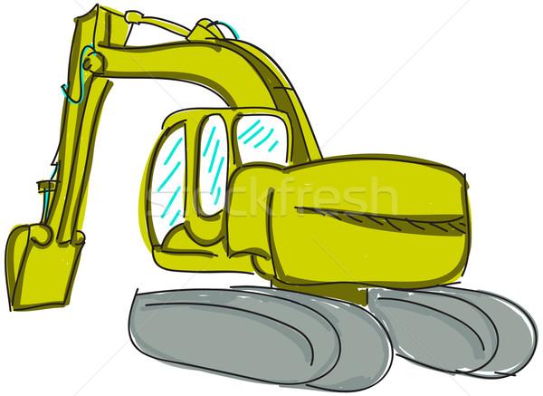 Drawn digger on white Stock photo © cherezoff