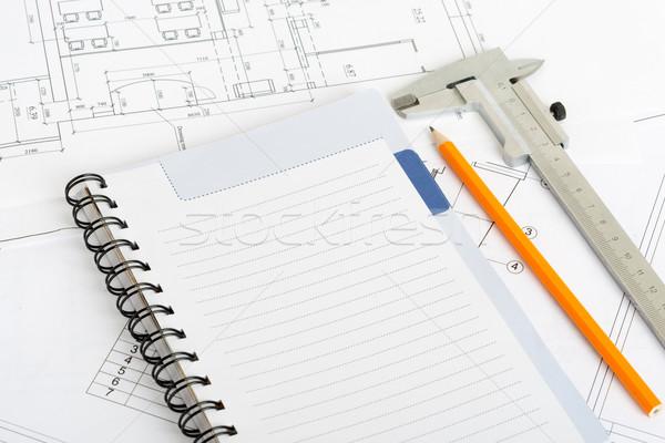 図面 練習帳 鋼 定規 鉛筆 ストックフォト © cherezoff
