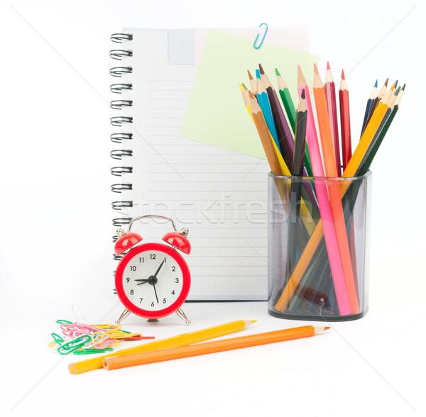 Ceruza csésze zsírkréták notebook izolált fehér Stock fotó © cherezoff