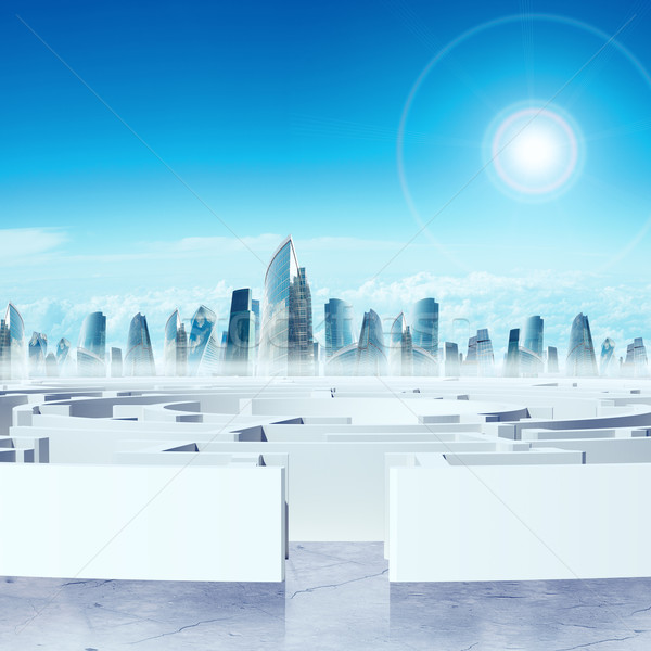 Business cityscape with labyrinth entry Stock photo © cherezoff