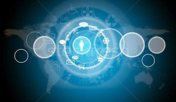 Mapa do mundo ícones do computador azul viajar globo mundo Foto stock © cherezoff