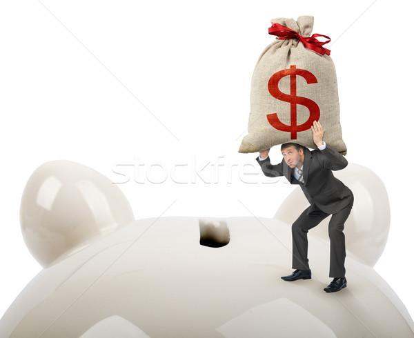 üzletember nagy pénz táska persely bank Stock fotó © cherezoff