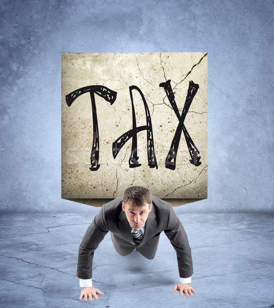 бизнесмен каменные назад слово налоговых Сток-фото © cherezoff