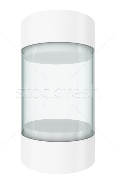 Round white showcases with pedestal Stock photo © cherezoff