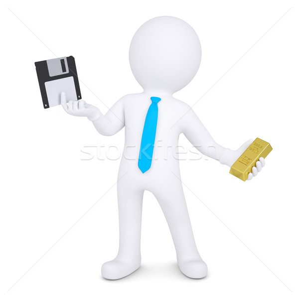 3d man changes floppy disk on gold Stock photo © cherezoff