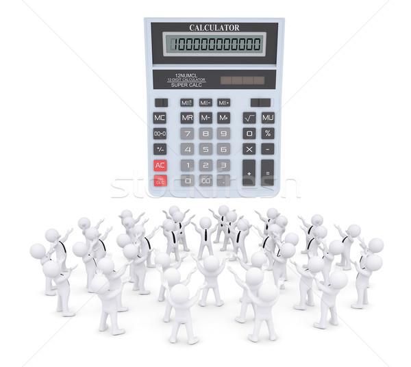 Group of white people worshiping calculator Stock photo © cherezoff