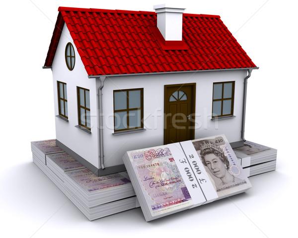 Casa libra casa vermelho telhado dinheiro Foto stock © cherezoff