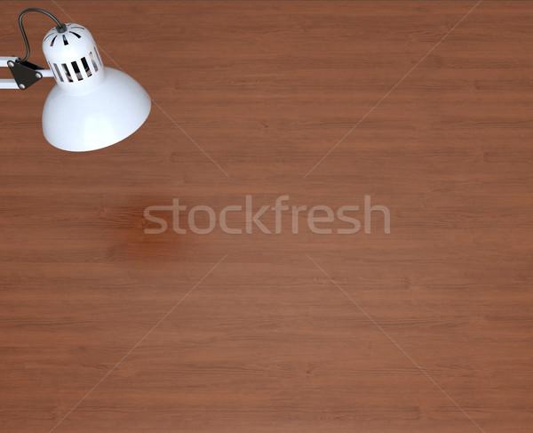 Stock fotó: Fehér · lámpa · fából · készült · munka · asztal · 3D