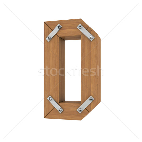 Fából készült d betű izolált render fehér iroda Stock fotó © cherezoff