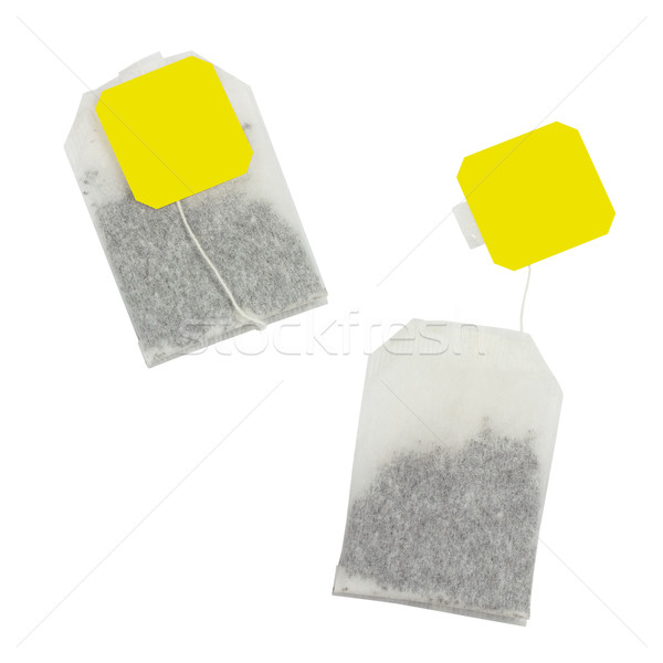 Tea bag with yellow label without inscription Stock photo © cherezoff