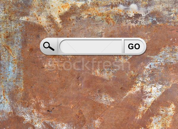 Zoek bar browser oude roestige metalen oppervlak Stockfoto © cherezoff