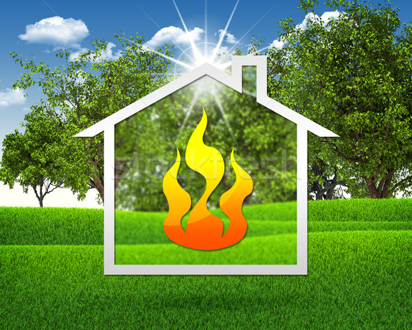 Symbols fire and home Stock photo © cherezoff