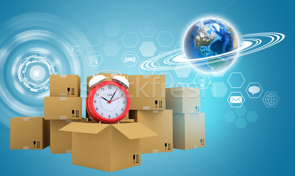 Postal boxes on them alarm clock. Backdrop of earth and hexagon Stock photo © cherezoff