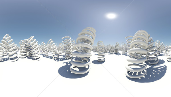Gömb alakú panoráma sok fehér felület kék ég Stock fotó © cherezoff