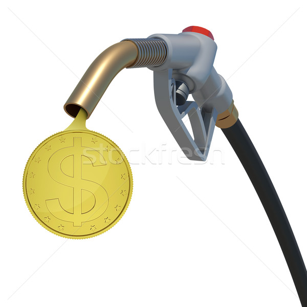Gold dollar coin flowing from fuel nozzle Stock photo © cherezoff