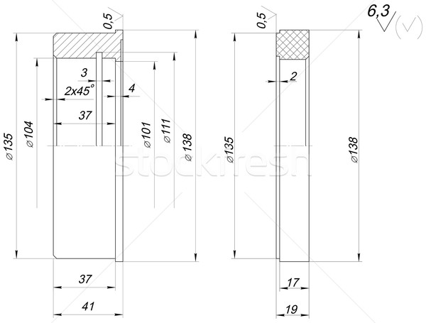 Ring sketch with spans. Engineering drawing Stock photo © cherezoff