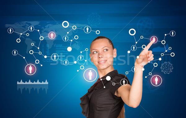 Kisajtolás holografikus képernyő ruha kapcsolódik vonalak Stock fotó © cherezoff