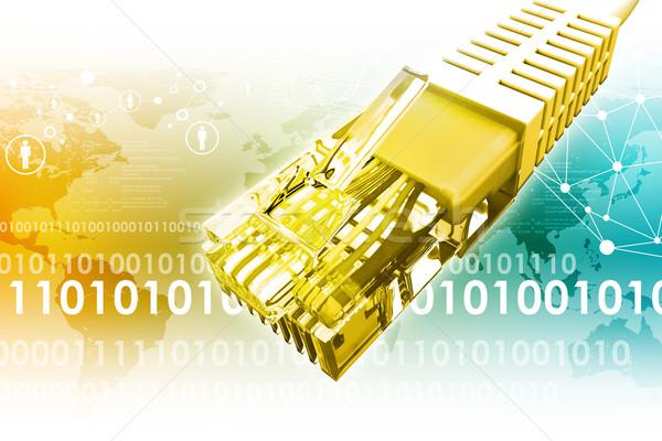Złoty kabel komputerowy streszczenie kolorowy mapie świata Zdjęcia stock © cherezoff