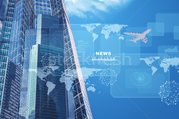 High-rise buildings with jet and charts Stock photo © cherezoff