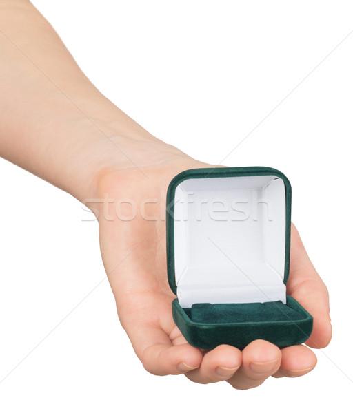 Open ring box in humans hand Stock photo © cherezoff