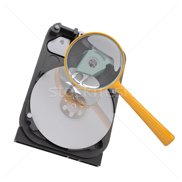 Hard disk under a magnifying glass Stock photo © cherezoff