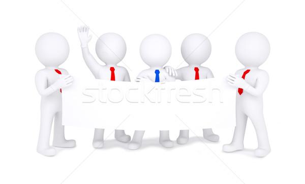 Five 3d little men holding white poster Stock photo © cherezoff